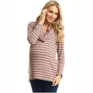 Everly Grey Maternity Grey Pink Striped Sweater